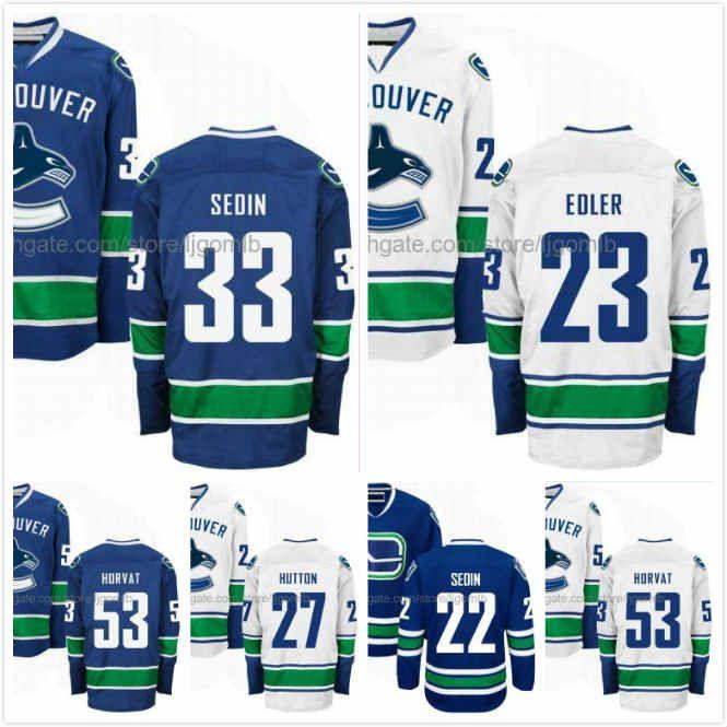 low priced 3c19a 48c25 Bo Horvat Jersey 53 Daniel Sedin 22 Henrik Sedin 33 Alexander Edler 23 Ben  Hutton 27 Ice Hockey Jerseys Vancouver Canucks Stitched S-3XL