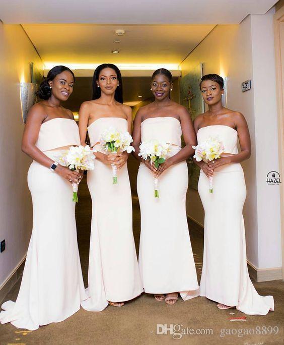Простой Стиль Платья Невесты Элегантный Африканская Русалка Без Бретелек Развертки Поезд Молния Назад Горничная Почетная Страна Свадебные Платья