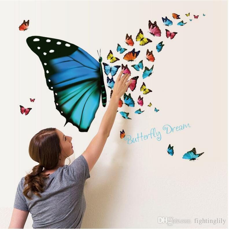 2017 New Colorful Butterfly 3d Wall Sticker Living Room Bedroom Wall Decals  Background Decoration Pvc Stickers Wall Sticker Decoration Wall Sticker ...