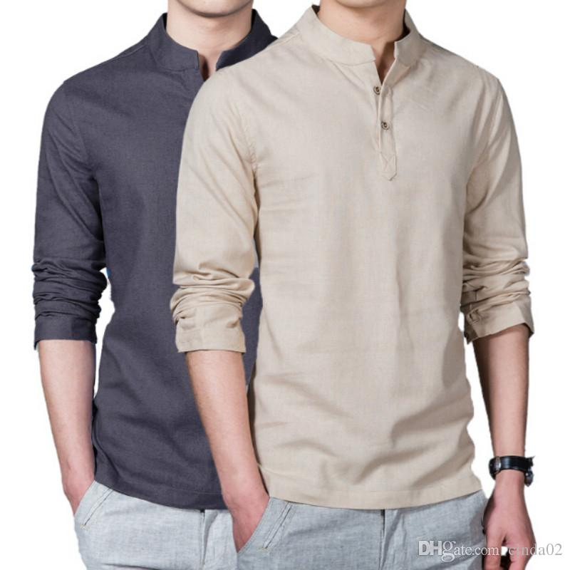 New Spring Summer Casual Men Linen Shirt Long Sleeve Solid V Neck ... 189bbd818991