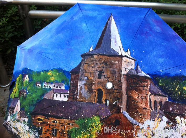 Oil Painting Arts Umbrella church painting umbrella Pongee with black coating umbrella painting parasols