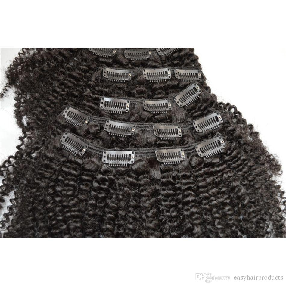 #1b afro kinky curly clip in hair extensions 100% human hair virgin clip in curly human hair G-EASY