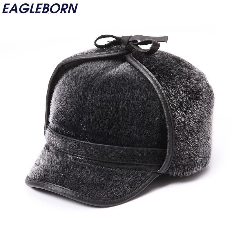 37abfc32acb Wholesale- Winter Warm Fur Bomber Hats Men High Quality Russian Snow ...