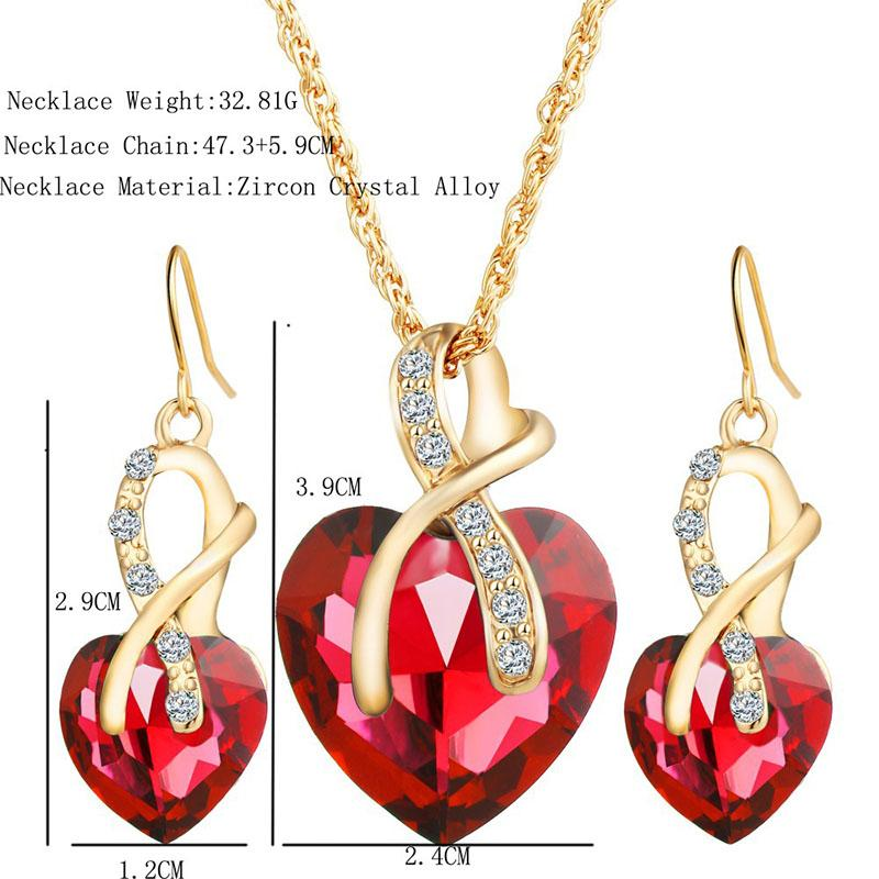 Red Crystal Heart Necklace Earrings Jewelry Sets Gold Chains Women Bride Party Wedding Will and Sandy DROP SHIP