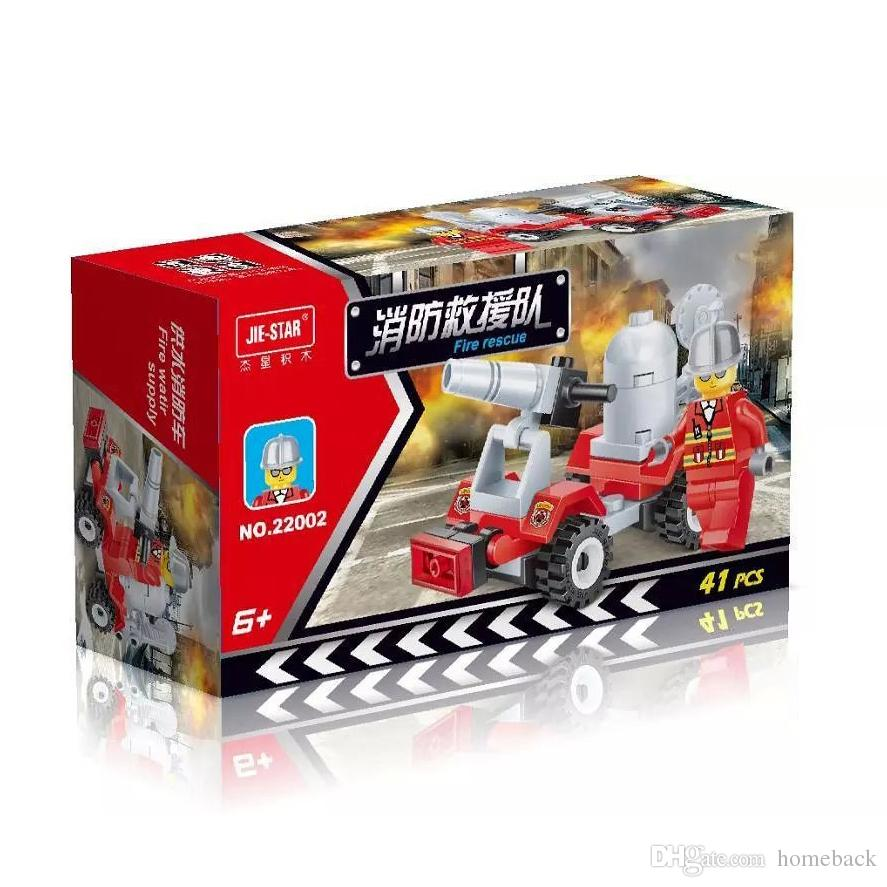 Free DHL City Fire Rescue Vehicle Car Model Building Blocks Set Children Educational Puzzle Toys Kids Gifts