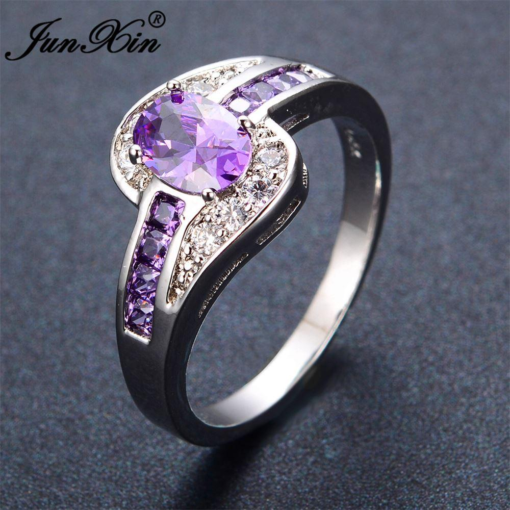 junxin female purple oval ring fashion white & black gold filled