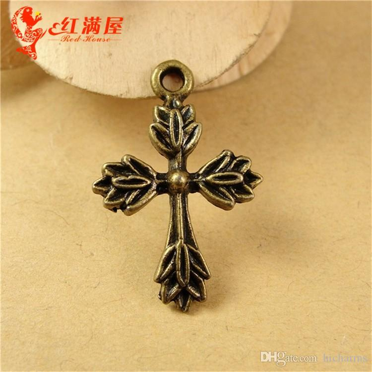 17*26MM Antique Bronze cross charms for bracelet, religious dangle item silver crucifix pendant for necklace, handmade brass alloy charms