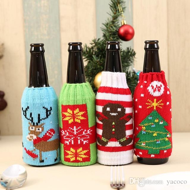 colorful fashion cloth wine bottle cover bags 4 styles sweater christmas table decoration santa claus xmas supplies for home party cool christmas