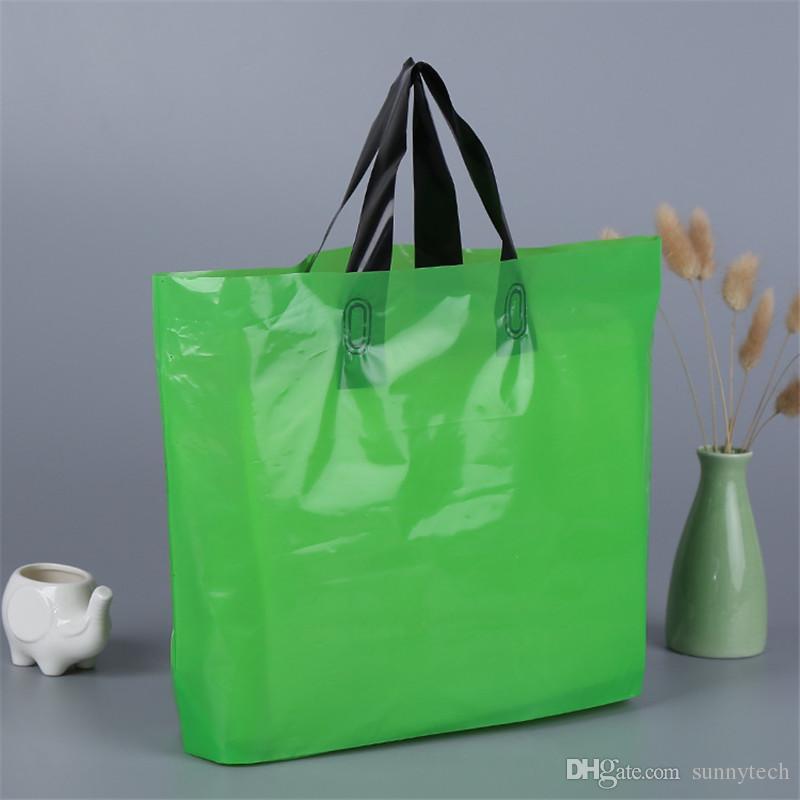 شعار مخصص المطبوعة أكياس التسوق التعبئة البلاستيكية مع مقبض ، كيس التغليف / الملابس / هدية مخصصة LZ0773