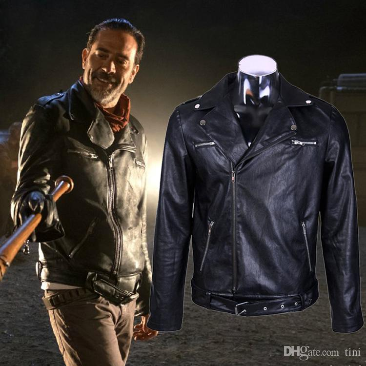 3d2b9af00 The Walking Dead Negan Men S Winter Black Leather Jacket Cosplay Coat  Motorcycle Coat Costume S-3XL Size Drop Shipping