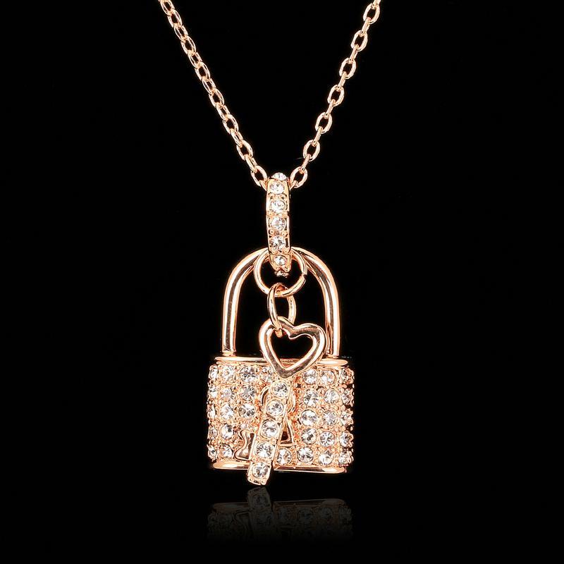 Wholesale unique lock key cz diamond necklaces pendants 18k rose wholesale unique lock key cz diamond necklaces pendants 18k rose gold plated fashion brand cz diamond jewelry for women charm accessiories dfn402 aloadofball Choice Image
