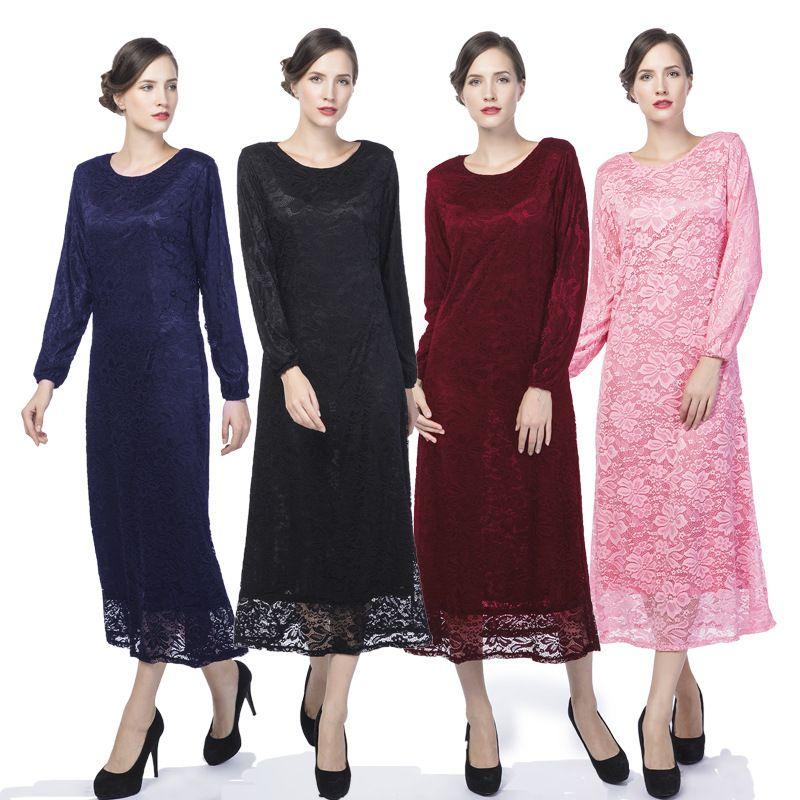 Muslimah Dress Baju Kurung Modern Muslim Lace Openwork Flowers ...