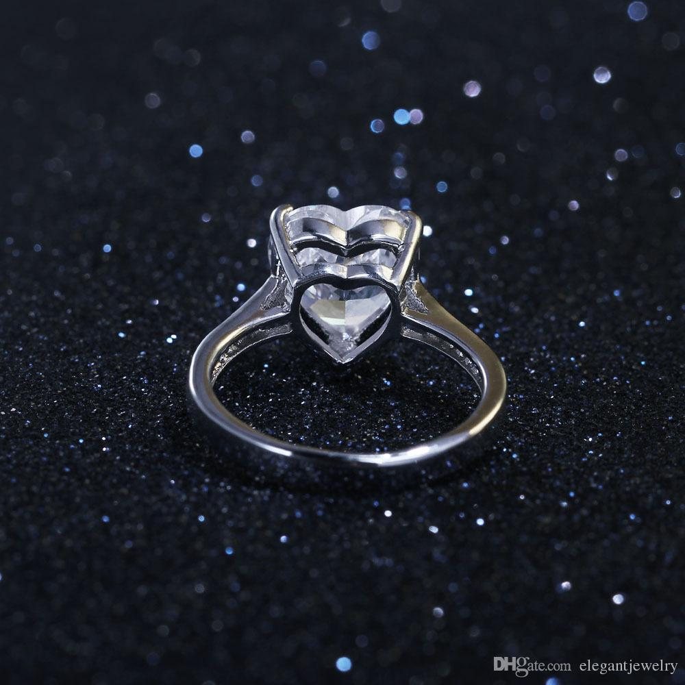 New! Real 925 Sterling Silver Heart Shape Ring for Women Silver Wedding Engagement Heart Ring Jewelry N85