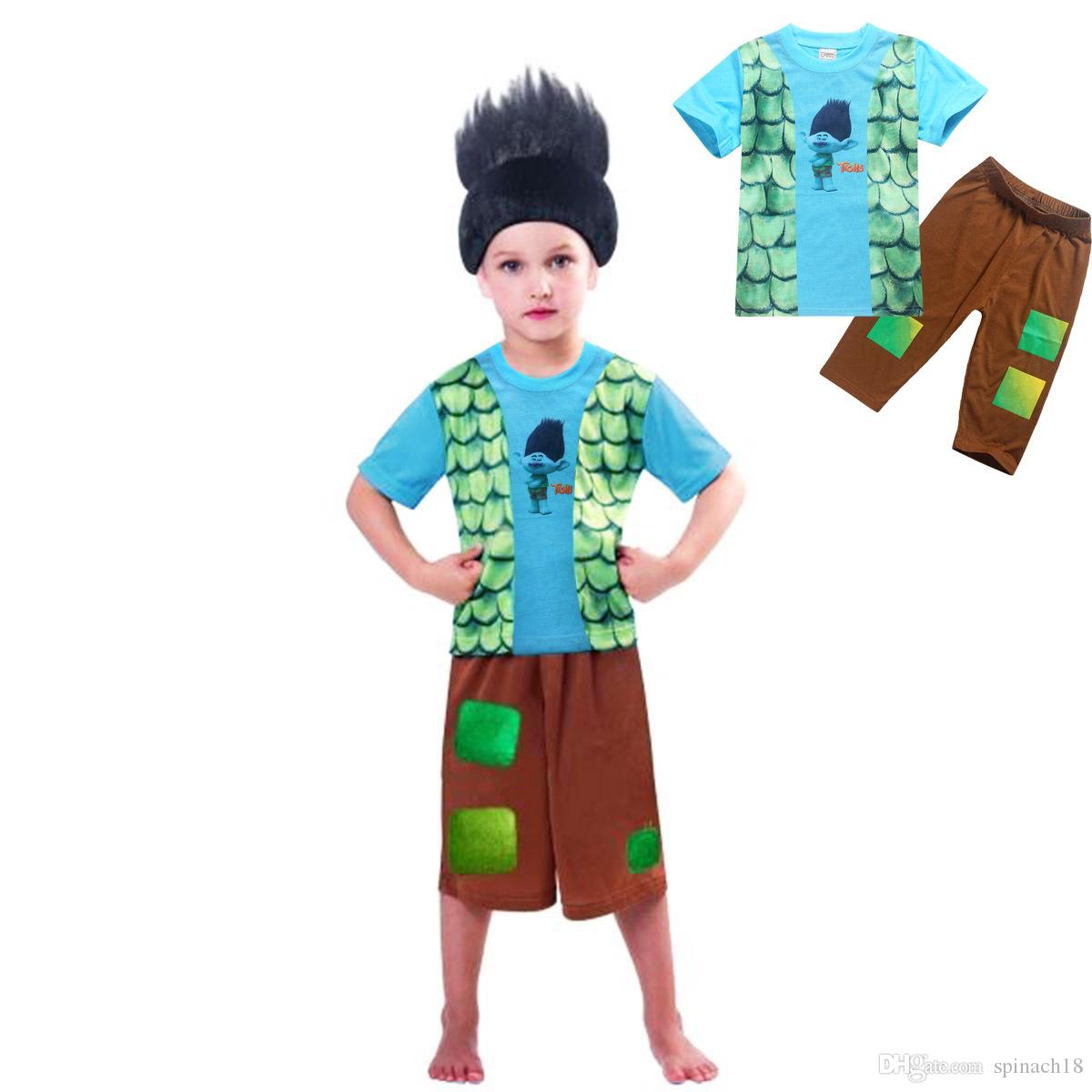 2017 Children Summer Boys Trolls Pajamas Suit Short Sleeve T-shirts + Pants Set Kids Sleeping Clothing Set 3193