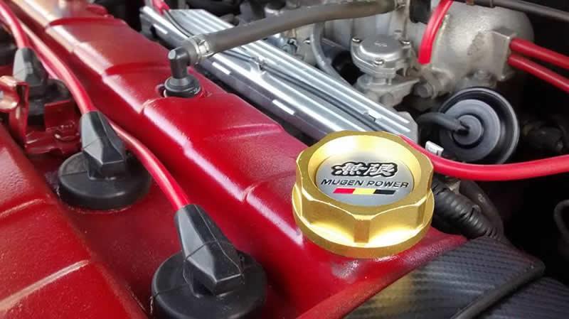 RASTP - Livraison gratuite Mugen Power Oil Filler Cap Racing Moteur Réservoir de carburant pour Honda Acura Cover Noir Rouge Or RA-CAP003