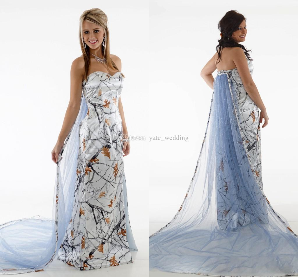 Discount 2018 Newest Snow White Camo Wedding Dresses Sweetheart ...