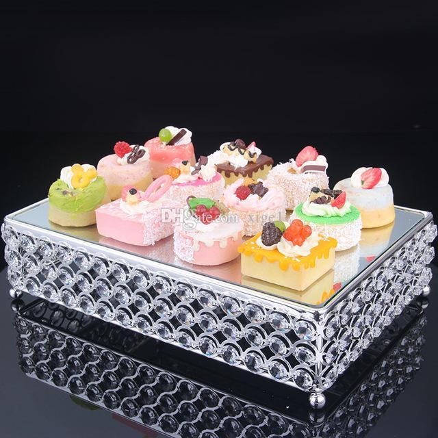Серебряный золотой торт стенд зеркало стекло десерт сервировка лоток фруктовая тарелка отель свадьба день рождения событие торт стенд