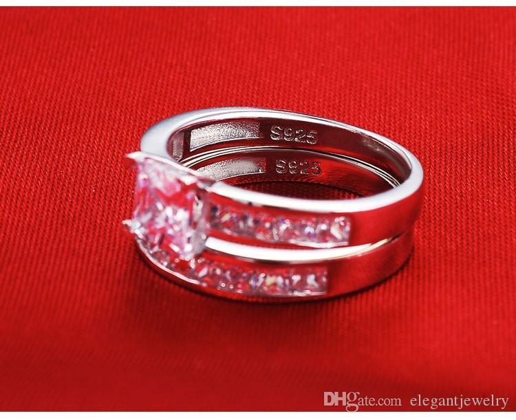 새로운! 여성 실버 웨딩 약혼 보석 도매 N64를위한 뜨거운 판매 진짜 925 스털링 실버 결혼 반지 세트