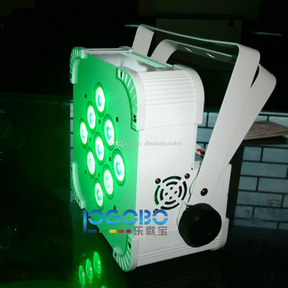 2 unids / lote LED Uplight DMX Par Can alimentado por batería inalámbrico 9x15W RGBAW Wedding Party Stage DJ Iglesia Teatro efecto decorativo Uplighting