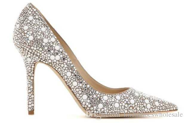 New Crystal Embellished Pumps Cinderella 11CM High Heels Rhinestone Wedding Dress Stilettos Lady Evening Party Pumps Shoes Women