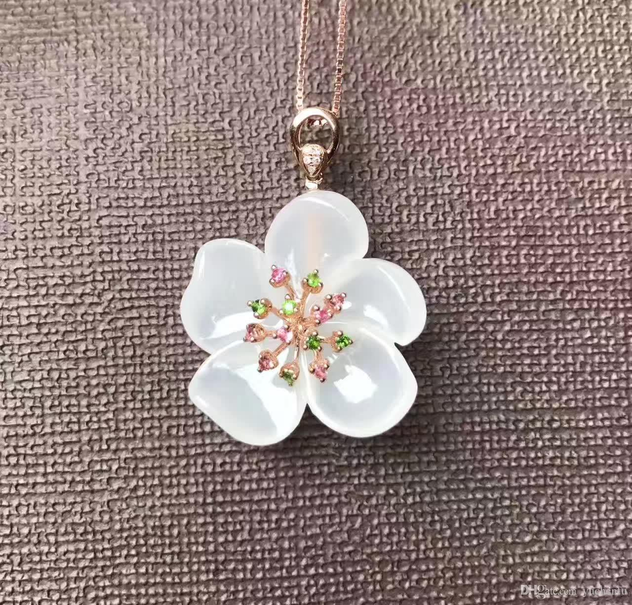 Wholesale White Jade Flower Pendant Hand Carved 3d Craft Mosaic
