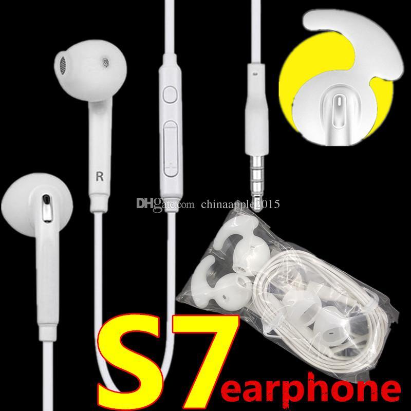 3.5 mm en la oreja los auriculares con micrófono de control de volumen auriculares para samsung galaxy s6 s7 s7 edge para iphone auriculares venta al por menor caja
