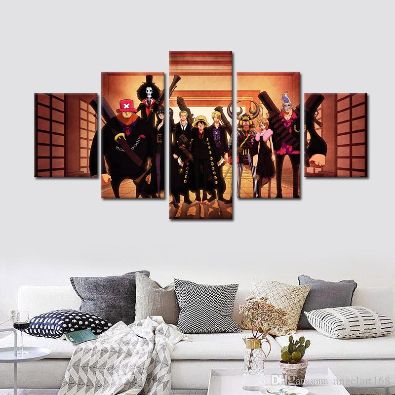 2018 Unframed Onepiece Luffy And Partners Black Dress Painting On ...