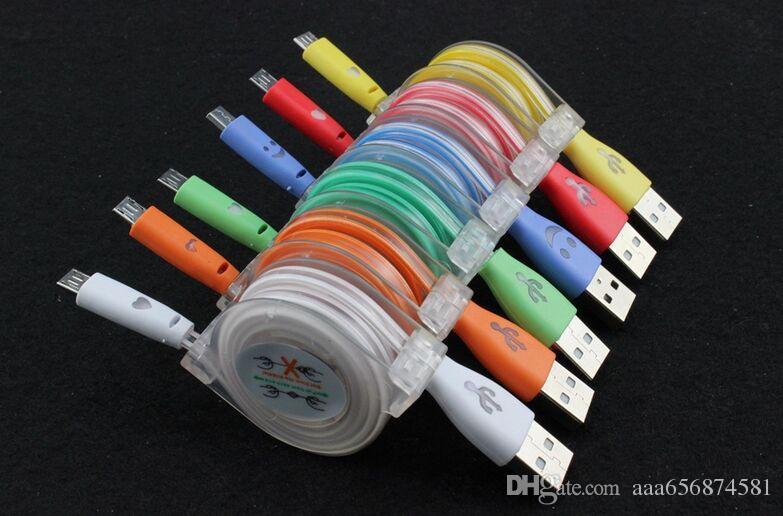 200 unids colorido led luz retráctil V8 Micro cable de cable de cargador de datos USB para samsung galaxy S 7 s6 s4 blackberry htc