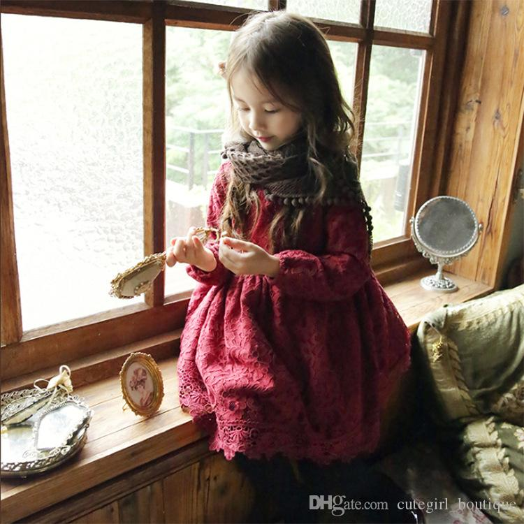 Korean girl christmas dresses baby girl autumn winter lace tutu dress kids add wool princess party dress