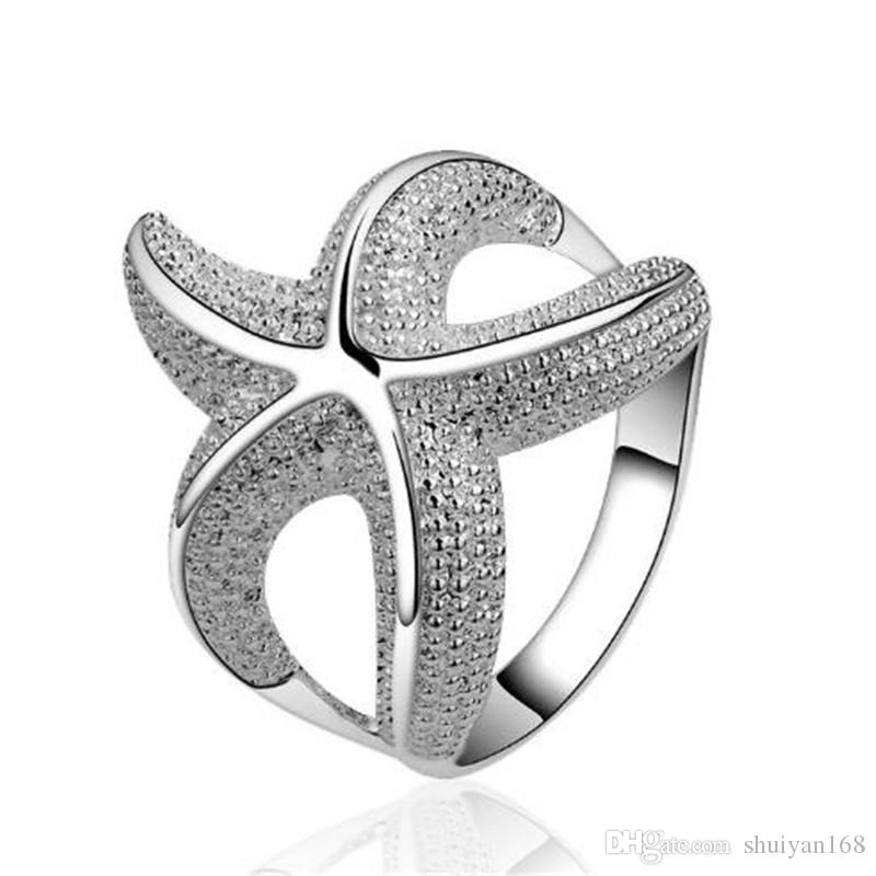 Starfish Rings 925 Sterling Silver Jewelry Fashion Ring Design Rings for Women Creative Style Alloy Ring in Europe Jewelry High Quality