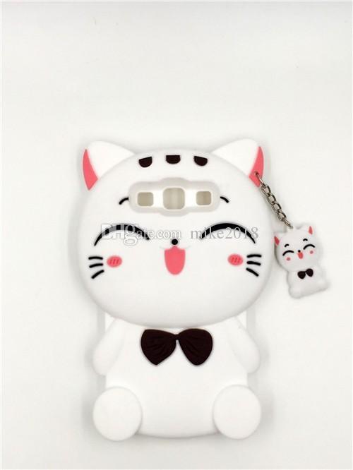 Coque de protection en silicone souple Kawaii Bow Tie Cat 3D pour Samsung Galaxy S3 / S4 / S5 / S6 / S7 / S7