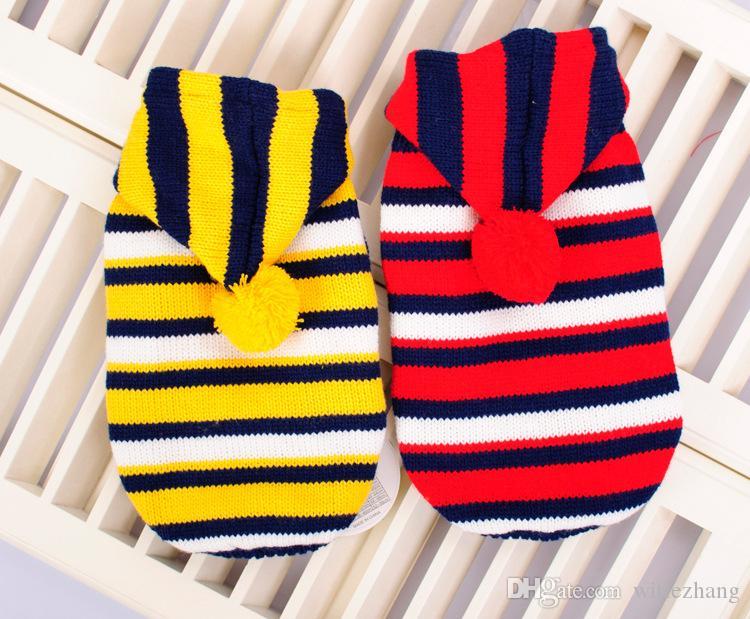 Livraison gratuite automne et hiver petit chien lagre vêtements chien rayé chandail 2 couleur taille S-XL vêtements pour chiens de compagnie chihuahua