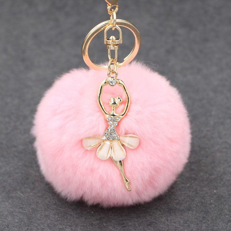 Hot Sale 8cm Rabbit Fur Ball Keycain Crystal Rhinestone Ballet Dancing Girl Key chain Pendant Romantic Key Ring Accessories