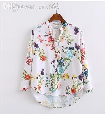 6597c0a837c771 2019 Multicolor V Neck Floral Print Tops Blouses Casual 2017 New Shirts For  Women Vogue Long Sleeve Buttons Dip Hem Blouse European Street Shirt From  Cxx666 ...