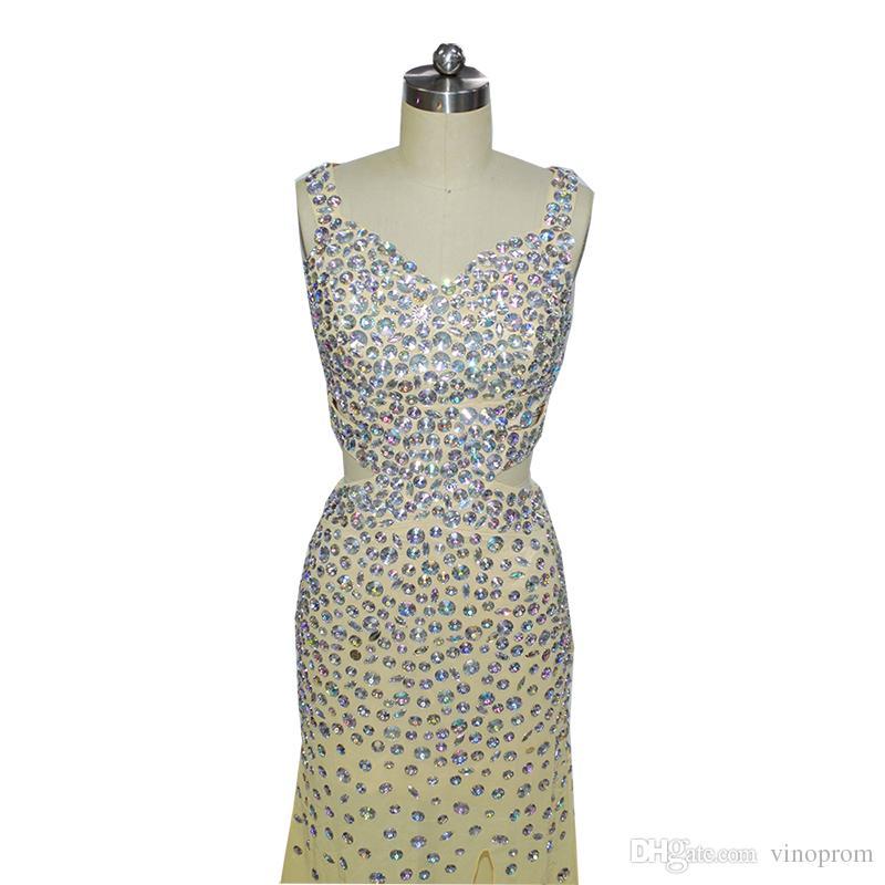 Vestidos Longos Para Beaded Formatura Mermaid Champagne Sweetheart Side Slit Chiffon Beaded Evening Formal Gown Dresses 2018