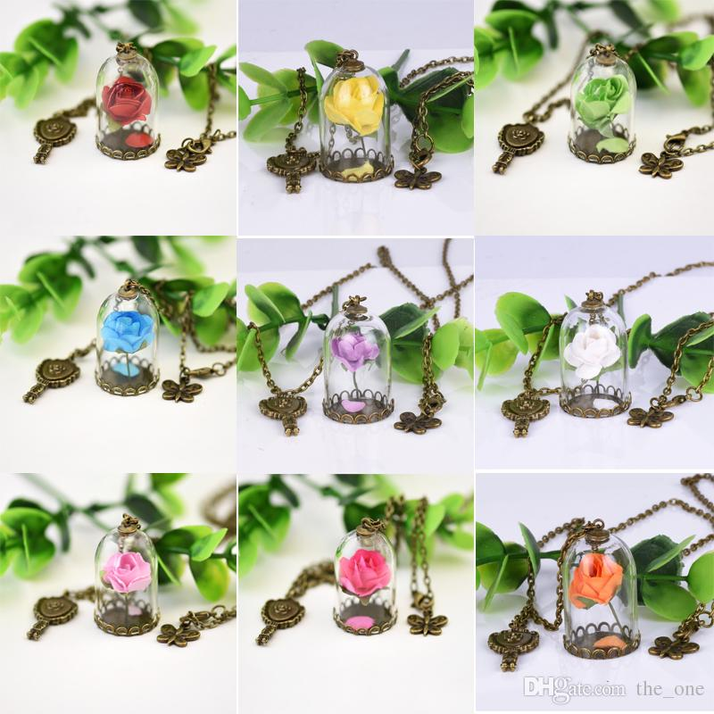 9b23205a79 Wholesale Beauty And The Beast Enchanted Rose Inspired Necklace Rose Glass  Dome Bronze Tone Mirror Charm Dried Flower Necklaces The_one Circle Pendant  ...