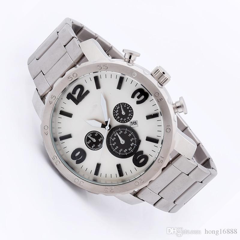 도매 캐주얼 빅 다이얼 쿼츠 손목 시계 남성 패션 육군 테이블 시간 다이얼 인기 Stianless 스틸 시계 남자 Relogio 남자 시계