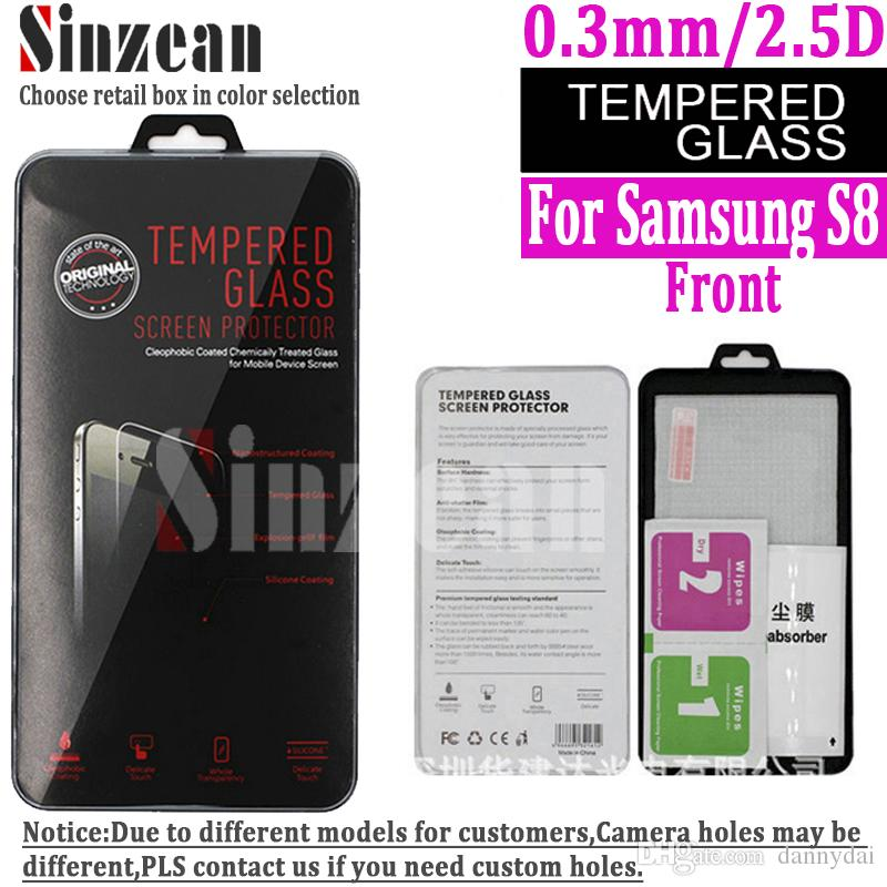 For Samsung Galaxy S8 Tempered Glass Screen Protector With Retail Box 03mm 9H 25D Case Cover