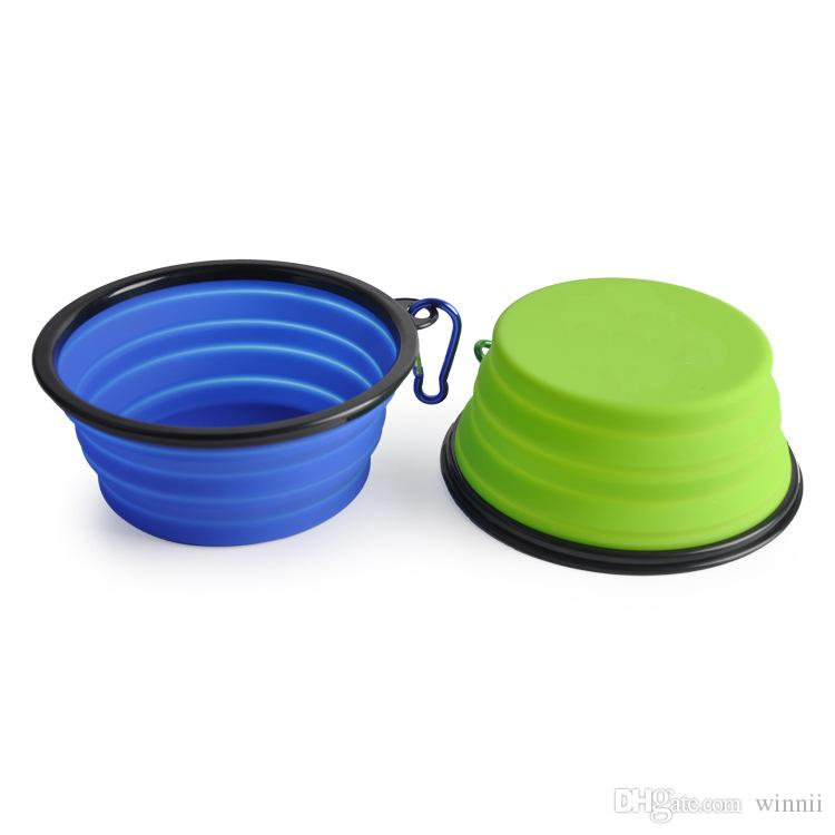 Big Silicone Fording Dog Feeding Bowl Collapsible Cats Water Dish Cat Portable Feeder Puppy Travel Bowls
