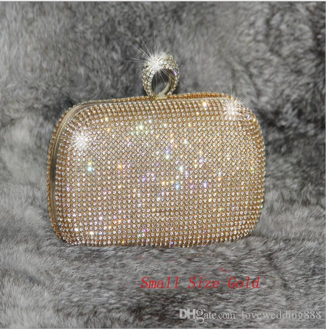 Shining Crystal Silver/Black/Gold Bridal Hand Bags 2019 Big/Small Style Fashion Ring Women Clutch Bags For Party Evenings Formal