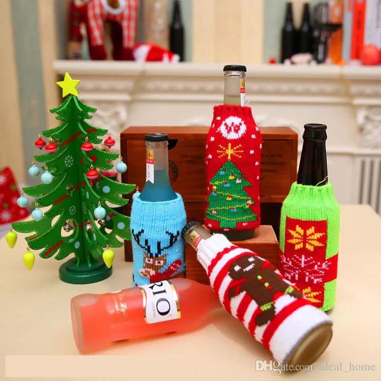 2017 new christmas household goods high grade knitted christmas beer bottle cover christmas beer bottle decoration christmas items wine bottle cover