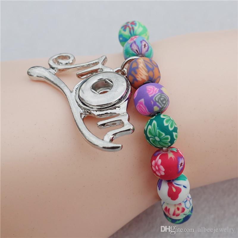 Moda Niños Niñas 15cm Longitud Multicolor Arcilla Perlas Noosa Chunks Metal Ginger 12mm Botones a presión Mamá pulsera de la joyería