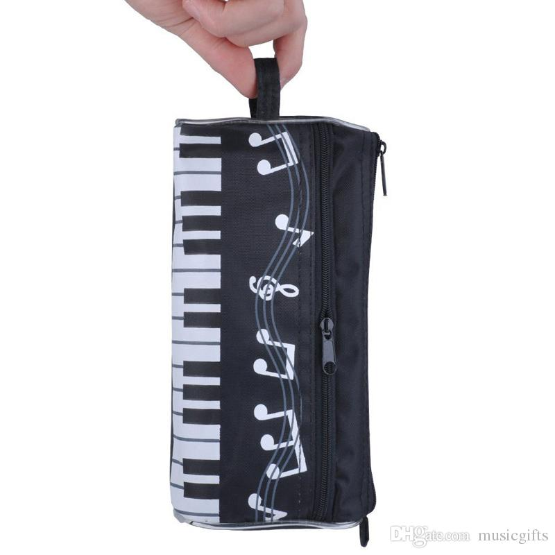 Pencil Bag Piano Keyboard Water-proof Zippered Stationery Pencil Pouch Case Pen Bag Black
