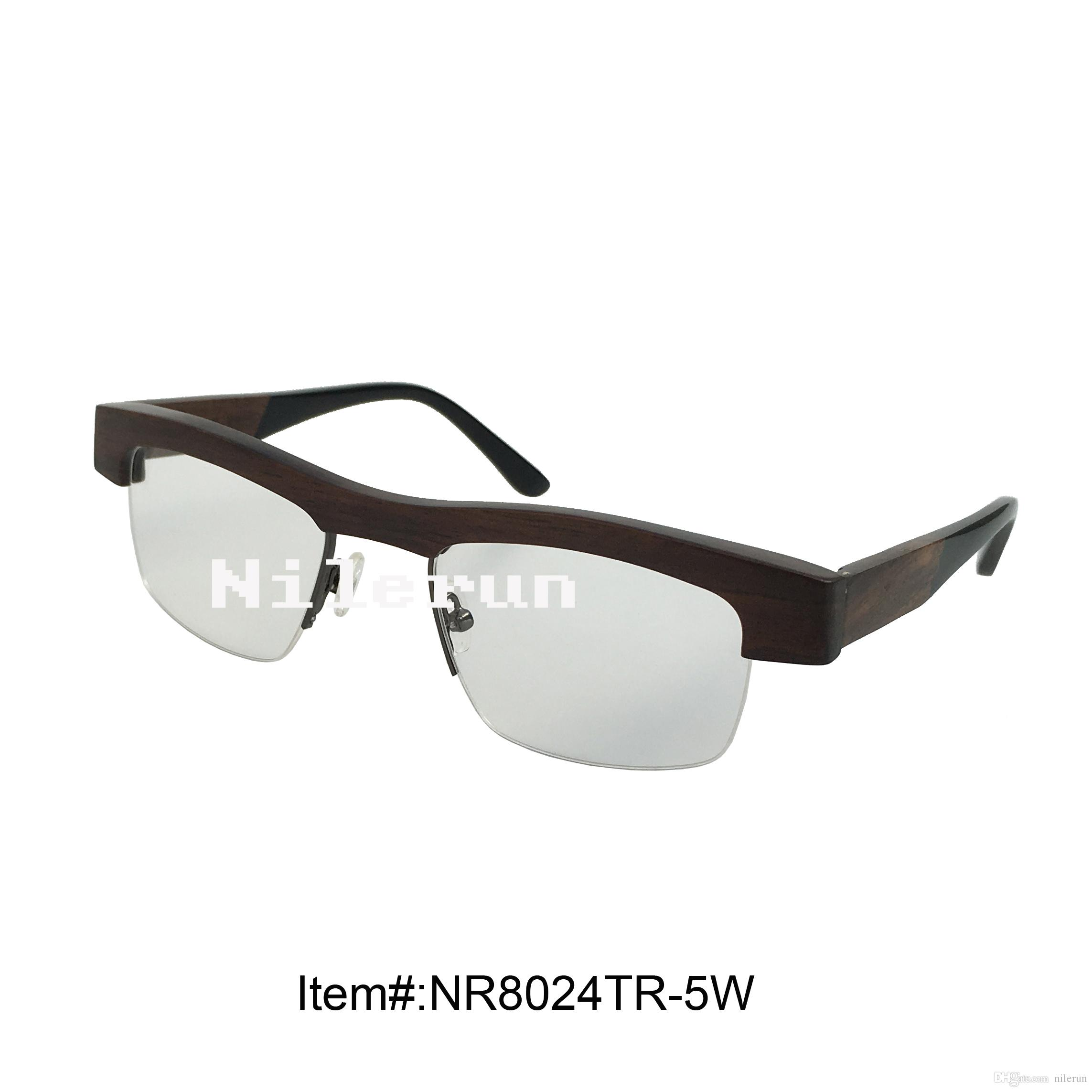 303f1505aa Metal Bridge Ebony Wood Half Frame Optical Reading Glasses Prescription  Frames Round Eyeglass Frames From Nilerun