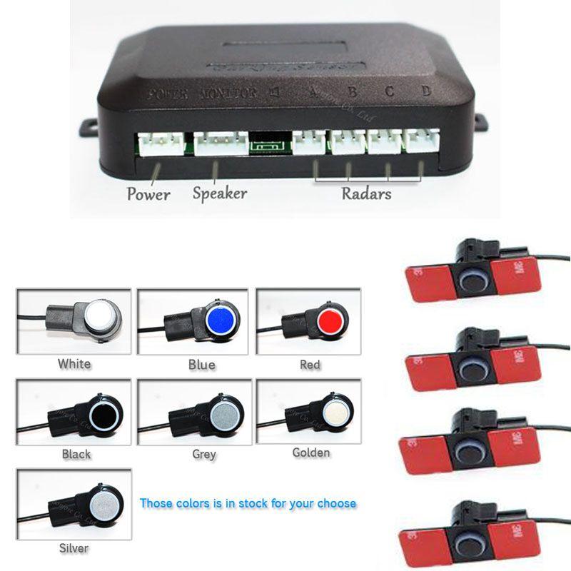 Car Parking sensors 4 Flat Sensor Buzzer Backup Radar Detector System  Reverse Sound Alert Parking Assistance 7 Color 16 mm