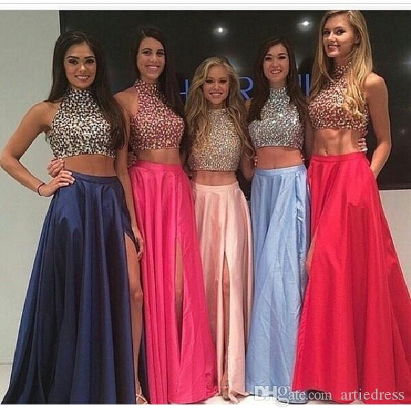 High Neck Two Piece Taffeta Long Prom Dresses 2017 Front Split Mid ...