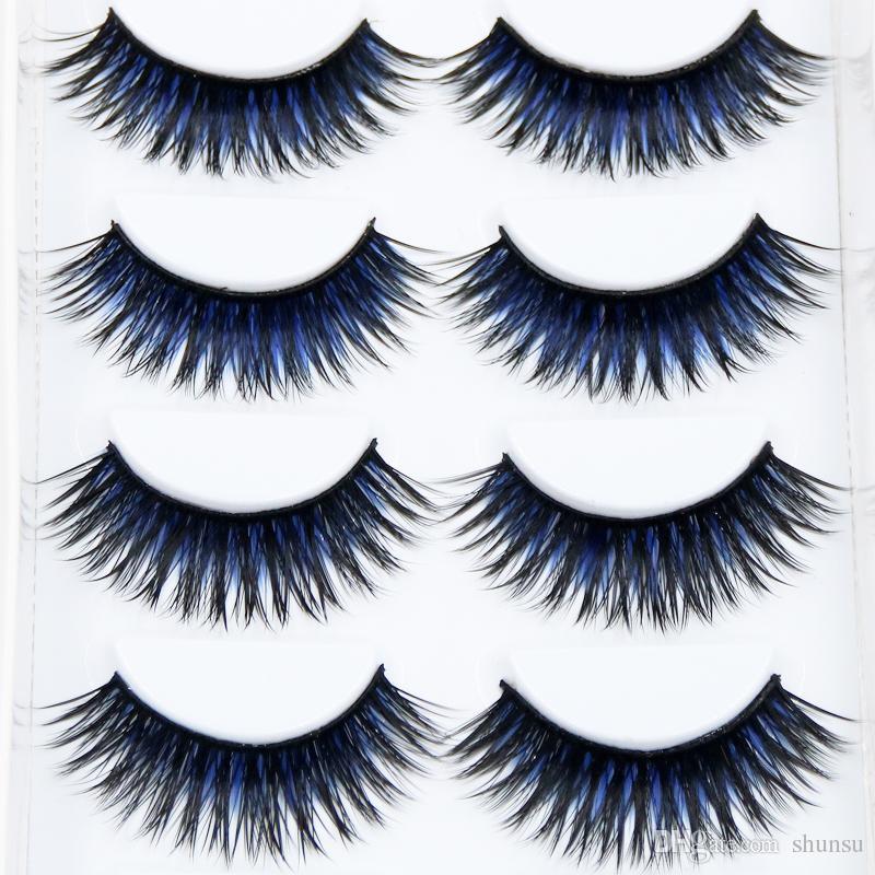 Neue Farbe Schwarz + Blau Falsche Wimpern Geräucherte Bühne Makeup Tools Lange Gefälschte Wimpern Natürliche Dicke Falsche Wimpern 1 box 3