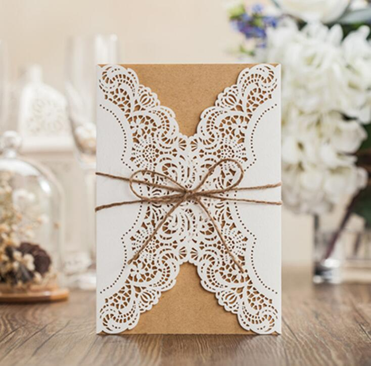 Brown Paper Laser Cut Wedding Invitations Cards Birthday Invitations With  Personalized Inner Sheet Dhl Free Ship Weddings Invitations Where To Print  Wedding ...