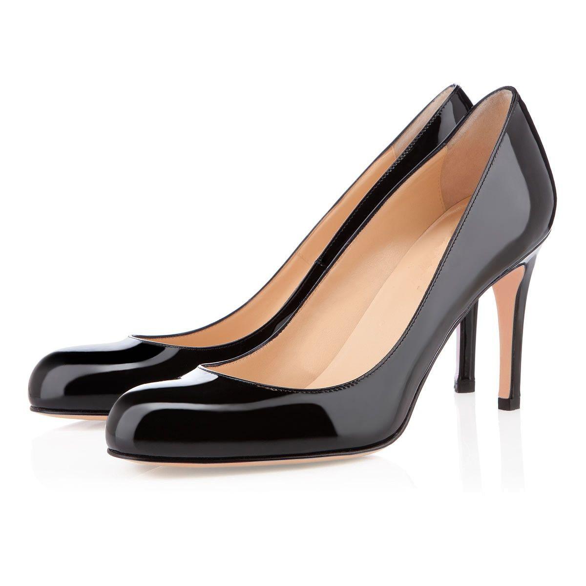 Karmran Kadınlar El Yapımı Moda Basit Pompalar 85mm Kapalı Toe Yüksek Topuk Balo Abiye Ayakkabı Siyah Z626