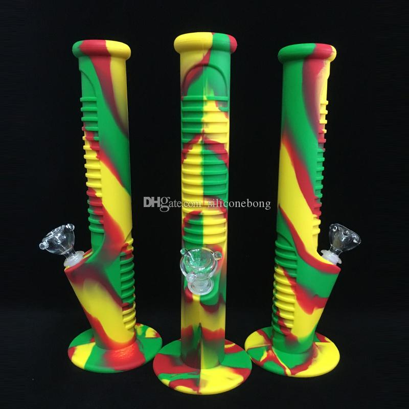 Silicone Water Pipes 14 inch Rasta 2017 New arrived 14.4 mm Joint Glass sets glass bongs glass pipes water bongs